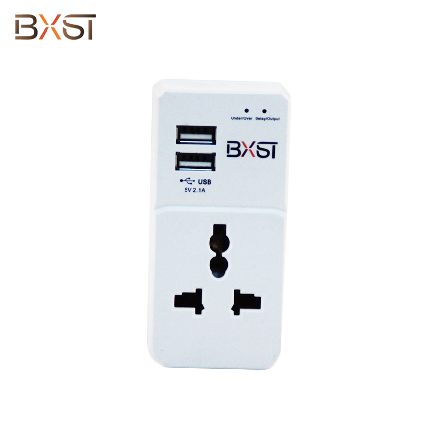 BX-V177 UK 13A Home Voltage Surge Protector with Two Outlets and Two USB