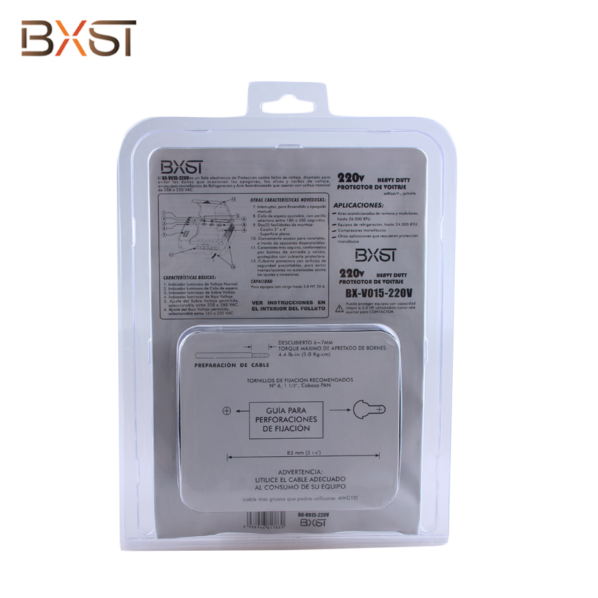 BX-V015-220V Over and Under Voltage and Delay Time Adjustable Wiring Voltage Surge Protector
